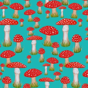 red mushrooms on teal