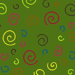 Curlicues pattern on Green