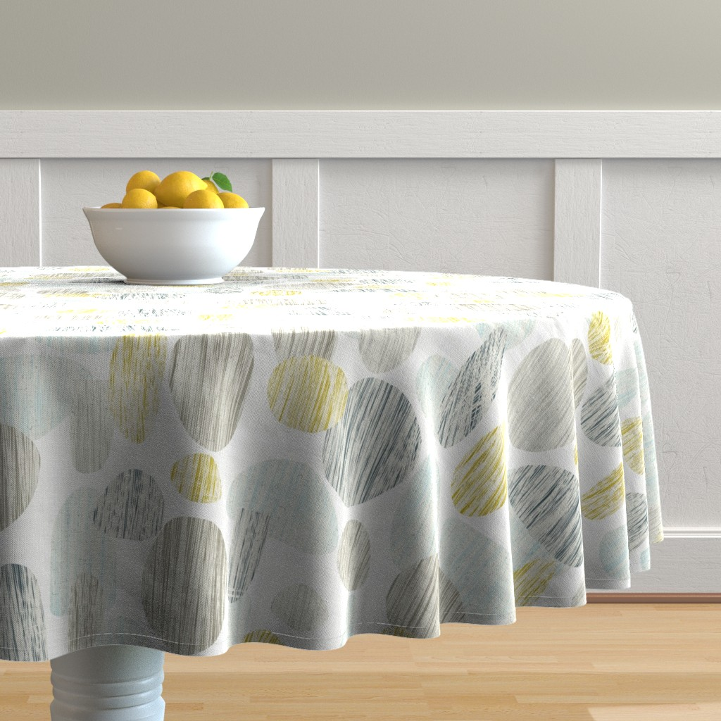 Malay Round Tablecloth featuring pebbles gold by scrummy