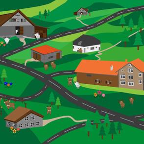 36'' x 54'' Playmat. Farm, mountain, animals.