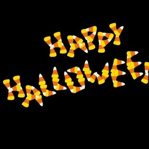 Happy Halloween candy corn word art
