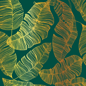 Gold Leaves on Emerald Green