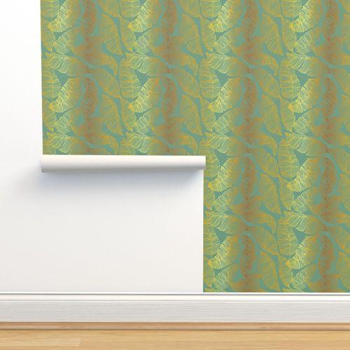 Wallpaper Gold Leaves On Pastel Green