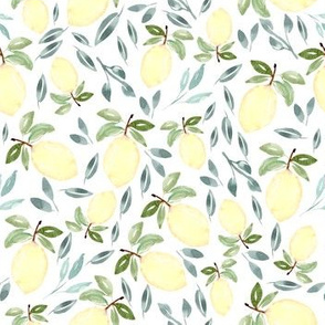 Watercolor Lemon Greenery