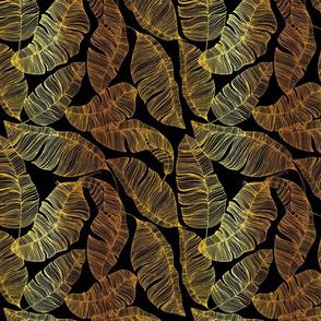 Gold Leaves on Black