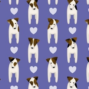 Parson Jack Russell Terriers with cute doggy head tilt turquoise