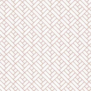 Simple Herringbone // coral on white