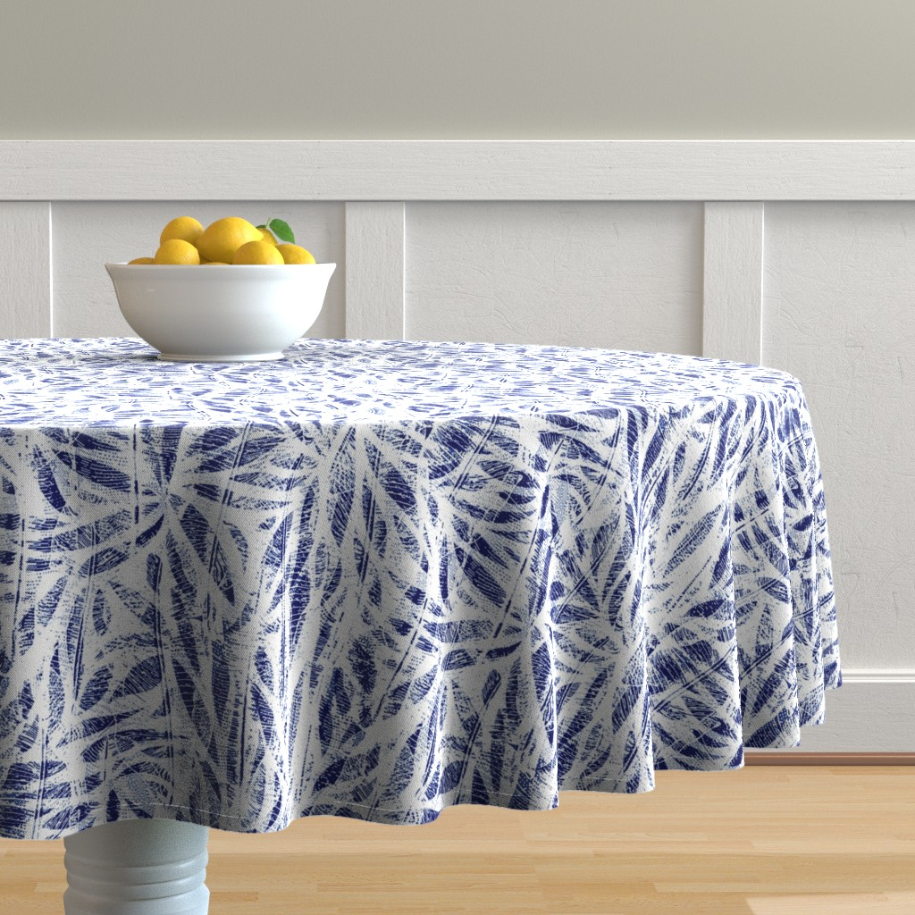 Malay Round Tablecloth featuring Bamboo Shibori by evamatise