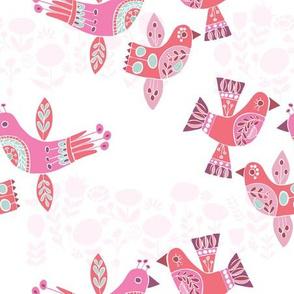 Pink Red Aqua Folk Birds