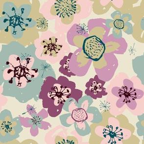 Pink Purple Blue Beige Flowers in Garden