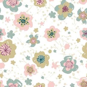 Sketchy Pink Blue Beige Florals