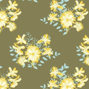 Yellow Floral Bouquet Olive Green Background
