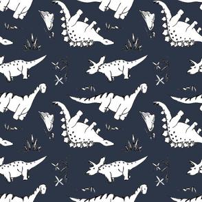 Navy and White Dino