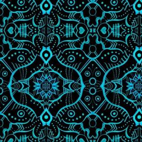 Lotus Mandala Oriental Arabesque Pattern Black Turquoise