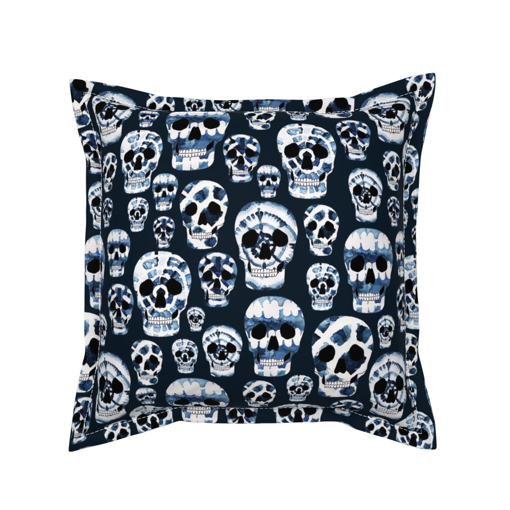 Serama Throw Pillow featuring Indigo Shibori Skulls by fancy_alice