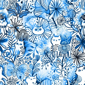 Meowbori . Blue inked watercolor shibori painted kitty cats and flowers. Berries, butterfly, leaves, summer nature.