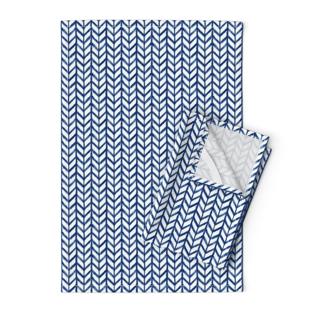 Orpington Tea Towels featuring Shibori Chevrons - Indigo on White - © Autumn Musick 2019 by autumn_musick