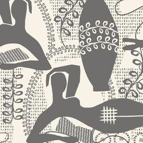 Did Matisse Read in the Winter- toile dark gray and cream
