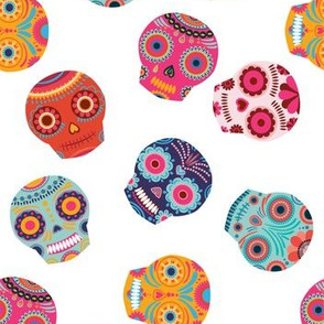 Sugar Mexican Skulls on White Background