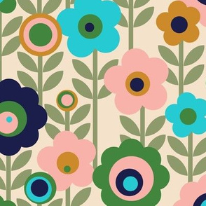 Marguerite* (Jagger & Sagebrush) || vintage sheet mod 70s 60s flower floral leaves stem garden spring summer