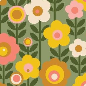 Marguerite* (Sagebrush) || vintage sheet mod 70s 60s flower floral leaves stem garden spring summer