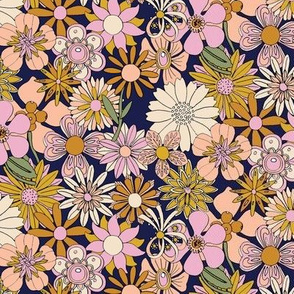Chelsea* (Desert Night) || vintage 60s 70s enamel pin brooch flower floral garden pastel sheet illustration spring summer bouquet mustard gold