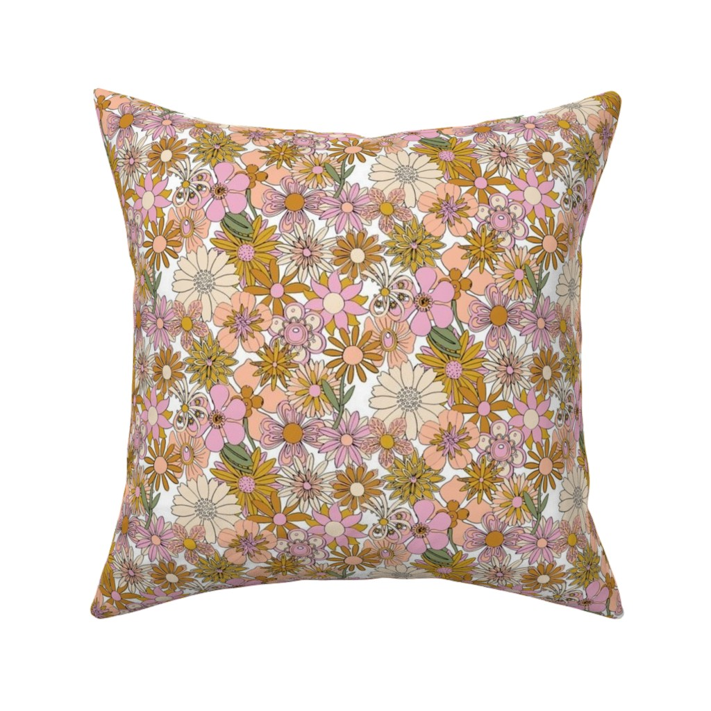 Catalan Throw Pillow featuring Chelsea* (Desert High Noon) || vintage 60s 70s enamel pin brooch flower floral garden pastel sheet illustration spring summer bouquet mustard gold by pennycandy