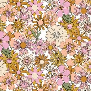 Chelsea* (Desert High Noon) || vintage 60s 70s enamel pin brooch flower floral garden pastel sheet illustration spring summer bouquet mustard gold