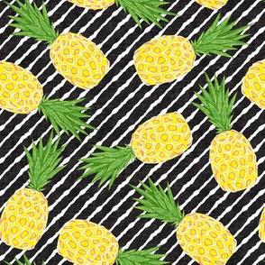 Pineapples - Dark Grey stripes - Summer - LAD19