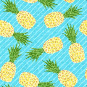 Pineapples - Light blue stripes - Summer - LAD19