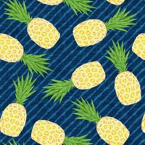 Pineapples - Dark blue stripes - Summer - LAD19