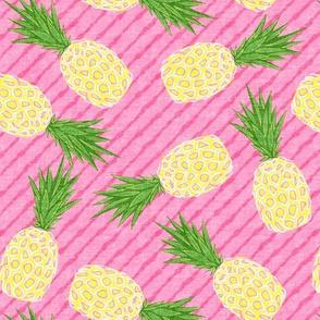 Pineapples - Pink stripes - Summer - LAD19