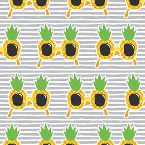 Pineapple Sunnies - summer sunglasses - grey stripes - LAD19