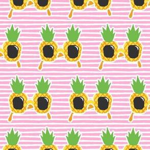 Pineapple Sunnies - summer sunglasses - pink stripes - LAD19