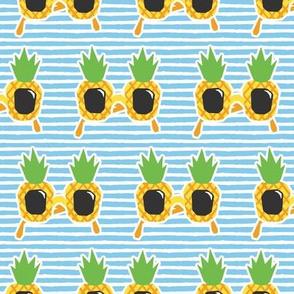 Pineapple Sunnies - summer sunglasses - blue  stripes - LAD19