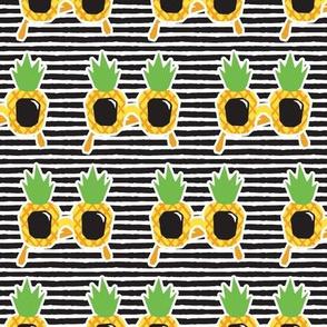Pineapple Sunnies - summer sunglasses - black stripes - LAD19
