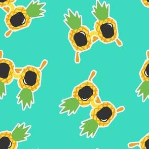 Pineapple Sunnies - summer sunglasses - teal - LAD19