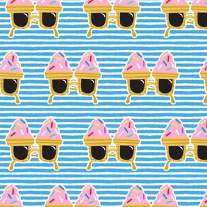 Ice cream Sunnies - summer sunglasses - blue  stripes - LAD19
