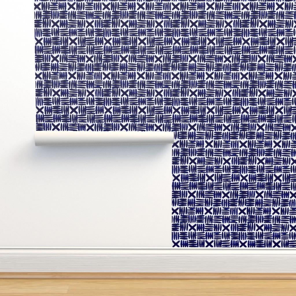 Isobar Durable Wallpaper featuring Shibori Watercolor Crosshatch by nanshizzle