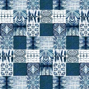 shibori indigo patchwork quilt