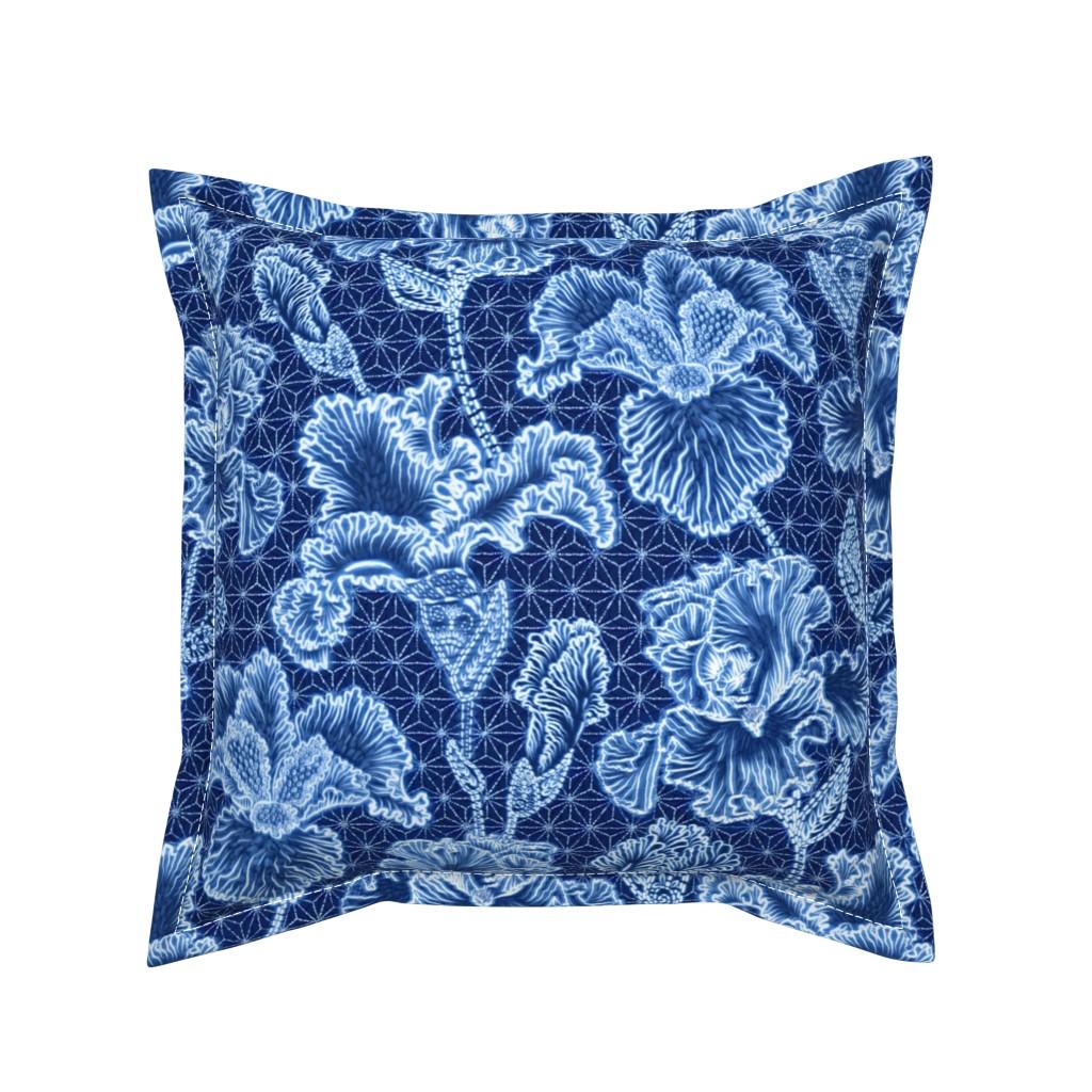 Serama Throw Pillow featuring Iris Shibori by helenpdesigns