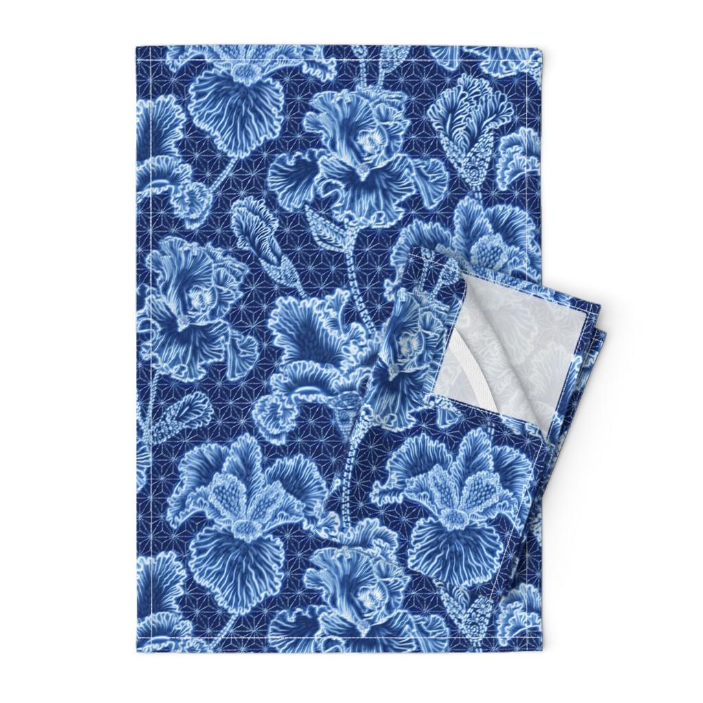 Orpington Tea Towels featuring Iris Shibori by helenpdesigns