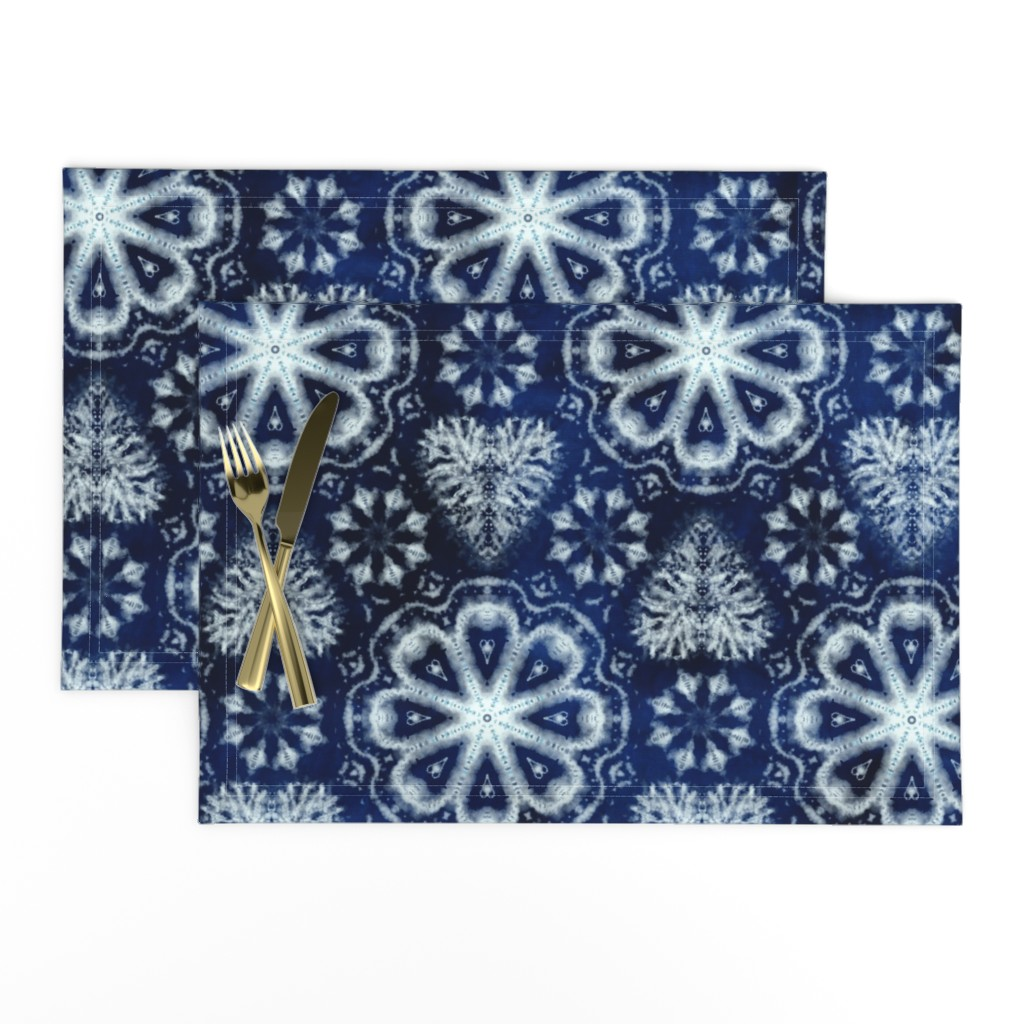 Lamona Cloth Placemats featuring Shibori hearts and flowers by ringele
