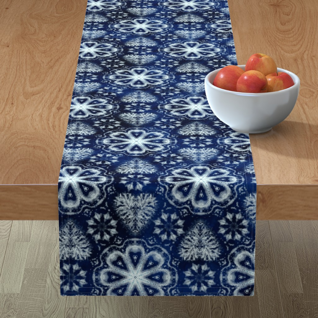 Minorca Table Runner featuring Shibori hearts and flowers by ringele