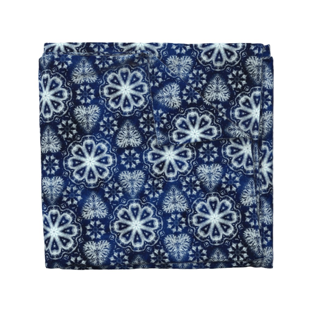 Wyandotte Duvet Cover featuring Shibori hearts and flowers by ringele