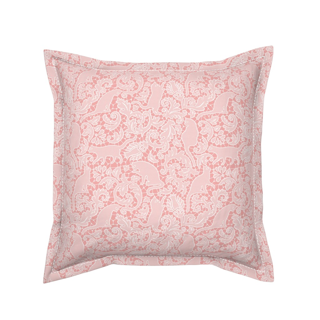 Serama Throw Pillow featuring cat lace - blush, small by mirabelleprint