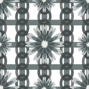 Flower Power White Grey