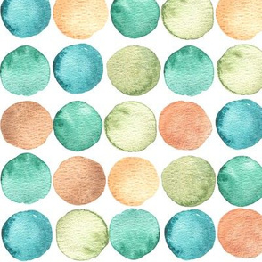 Green, turquoise and brown watercolor circles