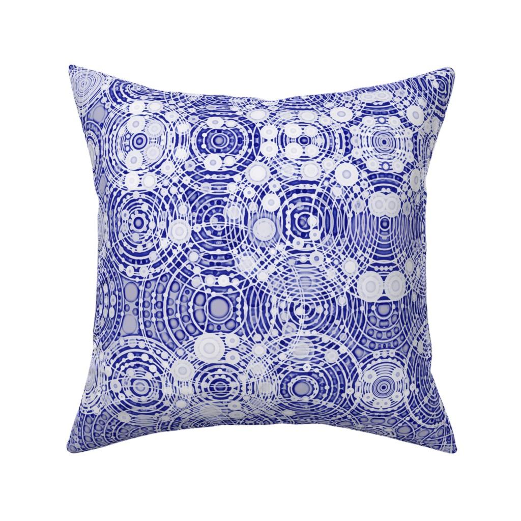 Catalan Throw Pillow featuring Shiburi Circles Indigo by elramsay