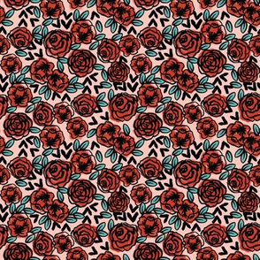 SMALL - roses // red vintage style illustration florals flower pattern